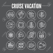 トレンディなライン スタイルのベクトルで作られた休暇アイコンをクルーズします夏の冒険のエンブレム