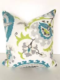 TEAL BLUE PILLOW 16x16 Decorative Throw Pillows Gray Lime Green Throw Pillow  Covers Turquoise Grey Floral