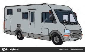 vectorized hand drawing modern silver large motor home stock vector