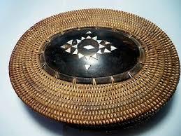 primitive antique handmade split wood basket lid cover center mother of pearl