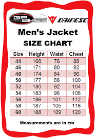 Dainese Race Suit Size Chart Dainese Size Chart In Inches Detailed Dainese Jacket Size Chart