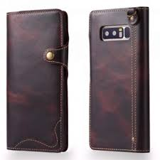 for samsung galaxy note 8 leather case retro on top cow oil wax leather luxury cell phone wallet case vintage designer folio flip cover with card slot