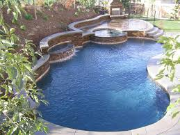 backyard design with pool. Swimming Pool:Beutiful Backyard Landscaping Ideas With Rectangle Shape Pool Feat Cream Marble Deck Floor Design .