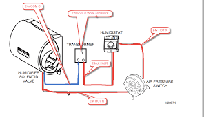 hi i need help wiring an he220 whole home humidifier in the drawing r is shown on right just because that is how the diagram is but the red wire in drawing will go to r and blue will go to c on transformer