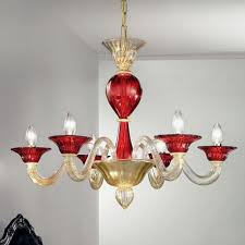 ermes murano glass chandelier 6 lights gold and red