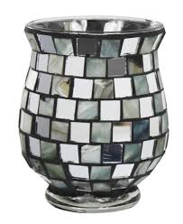 mirror and shell mosaic hurricane candle holder
