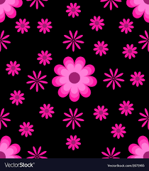 Cool Pink And Black Background Seamless Pattern Pink Flowers On Black Background Vector Image
