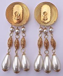 large gold tone faux pearl chandelier vintage clip on statement earrings for at 1stdibs