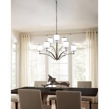prospect park modern 9 light chandelier in two tone satin nickel and chrome