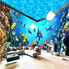 wallpaper house underwater world aquarium whole house backdrop mural wallpaper home decor photo background wall paper living room silver wallpaper house of