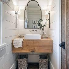 simple half bathroom designs. Wonderful Half Wood Vanity Shiplap Walls Rustic Half Bath Ideas On Simple Bathroom Designs Y