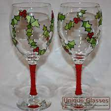 Christmas Holly Glass - Unique Glasses