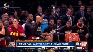 lebron water. bored lebron james tries water bottle challenge during knicks game against cavs lebron
