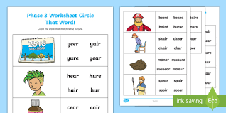 Download free, printable phonics worksheets and activities on a variety of topics such as click on the category or resource type below to find printable phonics worksheets and teaching activities. Ear Air And Ure Circle That Word Worksheet
