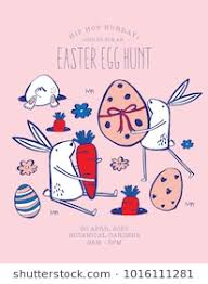 easter egg hunt template easter bunny egg hunt invitation template stock vector royalty free