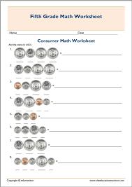 5th grade consumer math test worksheet – EduMonitor