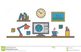 designer office desk isolated objects top view. excellent creative designer workspace office desk stock vector image with isolated objects top view
