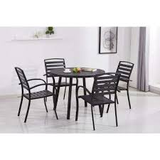 modern contemporary black 5 piece metal round outdoor dining set with slatted faux wood and