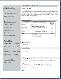 Mba Resume Format For Freshers Fresher Resume Format Fresh Sample