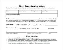Direct Deposit Form Template Format Of Generic Direct Deposit Authorization Form Vendor Template