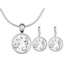 round white crystal from swarovski elements fashion circle pendant necklace stud earrings set women wedding jewelry sets nz 2019 from sbchf123