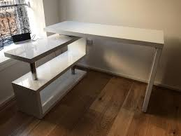 home office corner desks. White High Gloss Home Office Corner Desk Desks