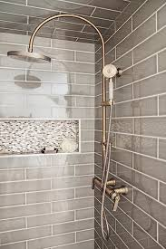 Gray Subway Tile Shower With Vintage Shower Head