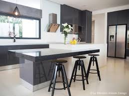 Kitchen:Modern Kitchen, Twin Islands, Marble Bench Top Plush Sleek Kitchen  Design With