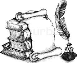 paper scroll feather and books in a sketch style hand drawn vector ilration vector