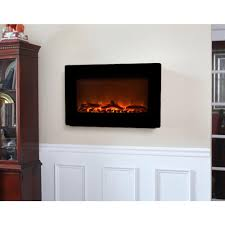 fire sense  in wallmount electric fireplace in black