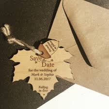 autumn leaf hanging wood save the date