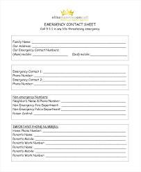 Emergency Phone Numbers List Template Contact Templates Free
