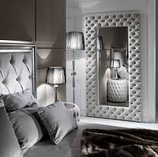 large modern on upholstered nubuck leather wall mirror