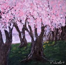 cherry blossom tree painting lovely cherry blossom trees original acrylic painting original