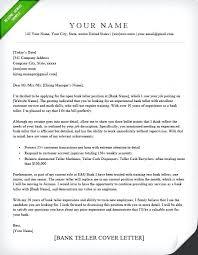 Cover Letter For A Bank Sample Cover Letter For Bank Teller Bank
