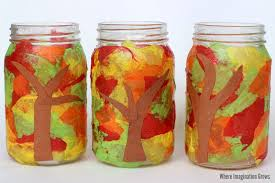 fall tree mason jar candle holder craft for kids
