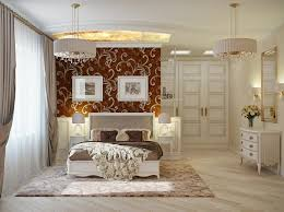 futuristic bedroom design with awesome fl wallpaper and beauty chandelier idea impressive bedroom decorating ideas for