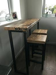industrial mill style reclaimed wood breakfast bar two stools tables and uk