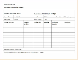Shipment Delivery Receipt Templates For Ms Excel Receipt