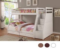 white bunk bed with stairs.  Stairs White Twin Over Full Bunk Bed With Staircase U0026 Drawers    Intended With Stairs 1