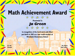 achievement awards for elementary students excel math printable math certificates and awards