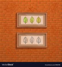 decorative brick wall background with two interior vector image