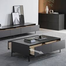 modern gray coffee table with storage