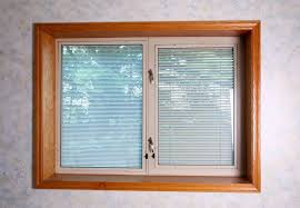 between glass blinds