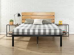zinus metal and wood platform bed.  Bed Zinus Sonoma Metal U0026 Wood Platform Bed With Slat Support Queen Inside And Amazoncom