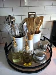 9 lazy susan with utensil crocks and seasonings