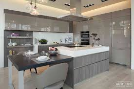 ash wood countertop with modern gray cabinets
