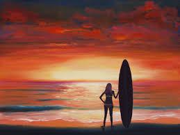 sunset beach original oil 18