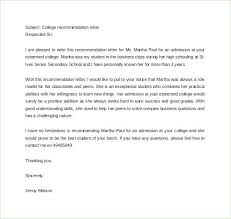 College Recommendation Letter From Family Friend Sample College Recommendation Letter From Employer Format For