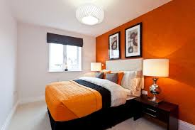 White Orange Bedroom Home Deco Plans